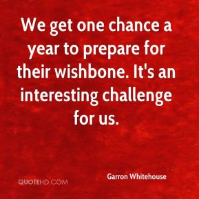 Garron Whitehouse - We get one chance a year to prepare for their wishbone. It's an interesting challenge for us.
