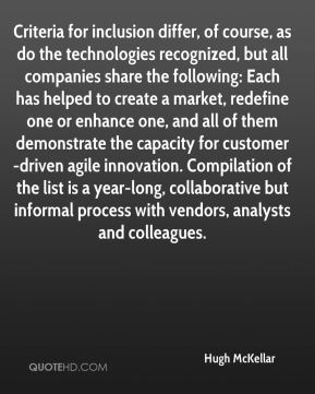 Hugh McKellar - Criteria for inclusion differ, of course, as do the technologies recognized, but all companies share the following: Each has helped to create a market, redefine one or enhance one, and all of them demonstrate the capacity for customer-driven agile innovation. Compilation of the list is a year-long, collaborative but informal process with vendors, analysts and colleagues.