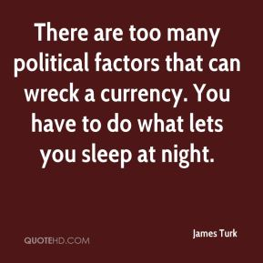 James Turk - There are too many political factors that can wreck a currency. You have to do what lets you sleep at night.