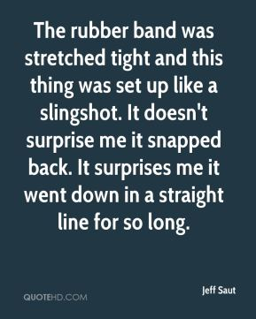 Jeff Saut  - The rubber band was stretched tight and this thing was set up like a slingshot. It doesn't surprise me it snapped back. It surprises me it went down in a straight line for so long.