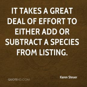 Karen Steuer  - It takes a great deal of effort to either add or subtract a species from listing.