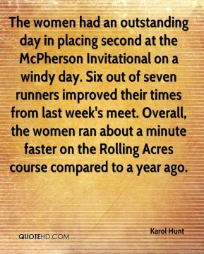 The women had an outstanding day in placing second at the McPherson Invitational on a windy day. Six out of seven runners improved their times from last week's meet. Overall, the women ran about a minute faster on the Rolling Acres course compared to a year ago.
