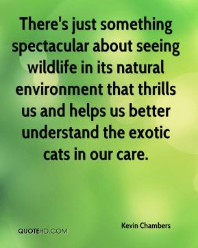 Kevin Chambers  - There's just something spectacular about seeing wildlife in its natural environment that thrills us and helps us better understand the exotic cats in our care.