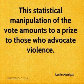 This statistical manipulation of the vote amounts to a prize to those who advocate violence.