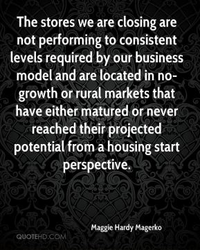 Maggie Hardy Magerko  - The stores we are closing are not performing to consistent levels required by our business model and are located in no-growth or rural markets that have either matured or never reached their projected potential from a housing start perspective.