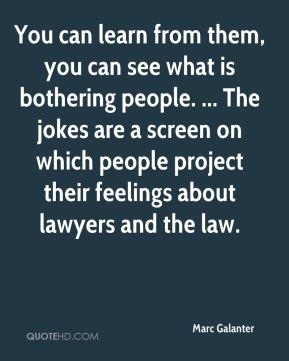 Marc Galanter  - You can learn from them, you can see what is bothering people. ... The jokes are a screen on which people project their feelings about lawyers and the law.
