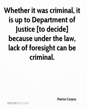 Marius Corpus  - Whether it was criminal, it is up to Department of Justice [to decide] because under the law, lack of foresight can be criminal.
