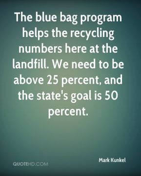 Mark Kunkel  - The blue bag program helps the recycling numbers here at the landfill. We need to be above 25 percent, and the state's goal is 50 percent.