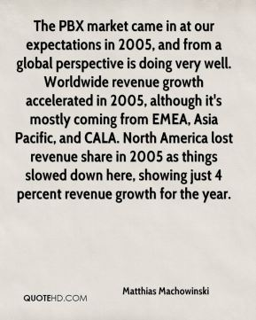 Matthias Machowinski  - The PBX market came in at our expectations in 2005, and from a global perspective is doing very well. Worldwide revenue growth accelerated in 2005, although it's mostly coming from EMEA, Asia Pacific, and CALA. North America lost revenue share in 2005 as things slowed down here, showing just 4 percent revenue growth for the year.