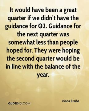 Mona Eraiba  - It would have been a great quarter if we didn't have the guidance for Q2. Guidance for the next quarter was somewhat less than people hoped for. They were hoping the second quarter would be in line with the balance of the year.