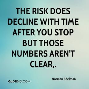 The risk does decline with time after you stop but those numbers aren't clear.