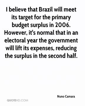 Nuno Camara  - I believe that Brazil will meet its target for the primary budget surplus in 2006. However, it's normal that in an electoral year the government will lift its expenses, reducing the surplus in the second half.