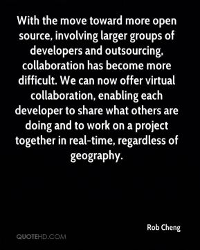 Rob Cheng  - With the move toward more open source, involving larger groups of developers and outsourcing, collaboration has become more difficult. We can now offer virtual collaboration, enabling each developer to share what others are doing and to work on a project together in real-time, regardless of geography.