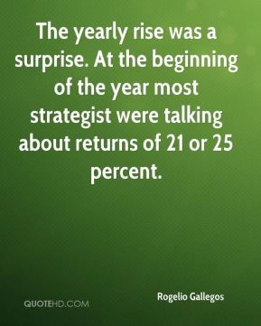 Rogelio Gallegos  - The yearly rise was a surprise. At the beginning of the year most strategist were talking about returns of 21 or 25 percent.