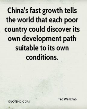 Tao Wenzhao  - China's fast growth tells the world that each poor country could discover its own development path suitable to its own conditions.