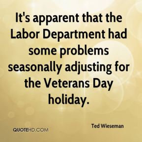 It's apparent that the Labor Department had some problems seasonally adjusting for the Veterans Day holiday.