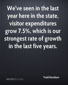 Todd Davidson  - We've seen in the last year here in the state, visitor expenditures grow 7.5%, which is our strongest rate of growth in the last five years.