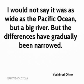 I would not say it was as wide as the Pacific Ocean, but a big river. But the differences have gradually been narrowed.