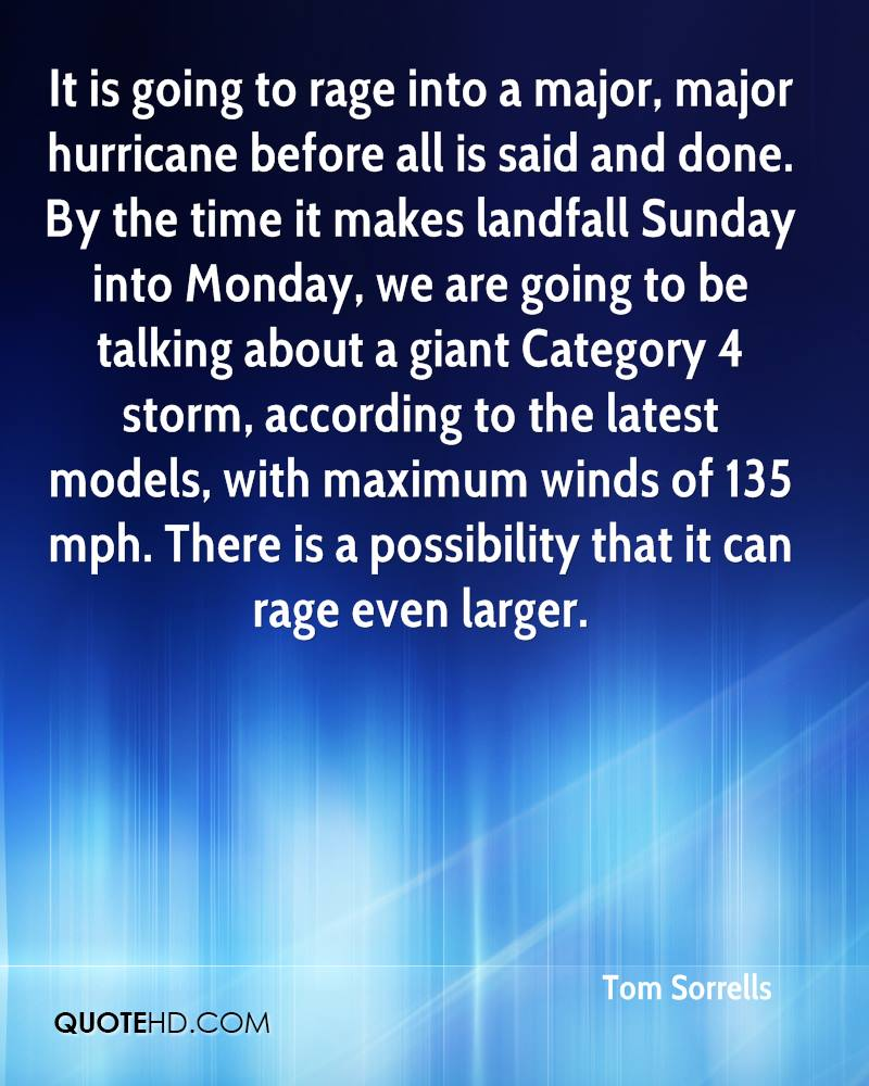 It is going to rage into a major, major hurricane before all is said and done. By the time it makes landfall Sunday into Monday, we are going to be talking about a giant Category 4 storm, according to the latest models, with maximum winds of 135 mph. There is a possibility that it can rage even larger.