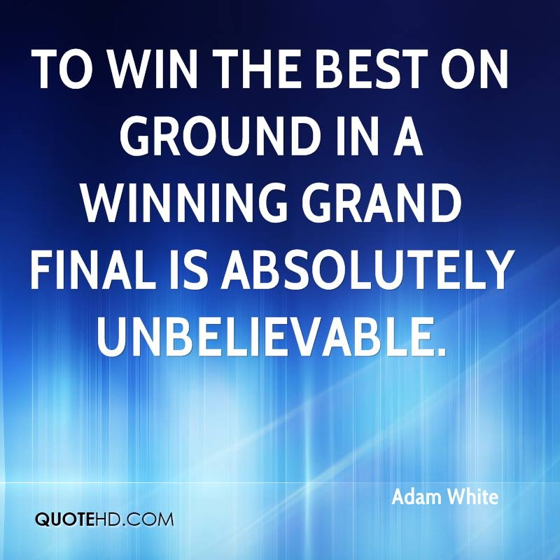 To win the best on ground in a winning grand final is absolutely unbelievable.