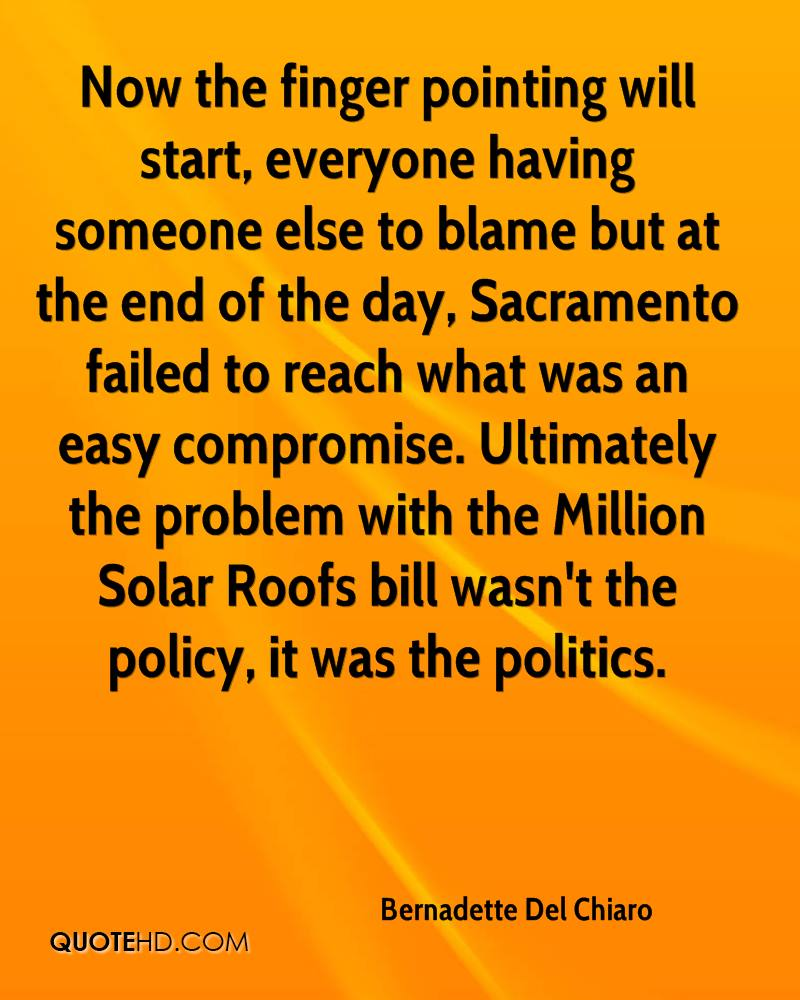 Now the finger pointing will start, everyone having someone else to blame but at the end of the day, Sacramento failed to reach what was an easy compromise. Ultimately the problem with the Million Solar Roofs bill wasn't the policy, it was the politics.