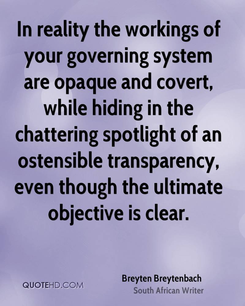 In reality the workings of your governing system are opaque and covert, while hiding in the chattering spotlight of an ostensible transparency, even though the ultimate objective is clear.