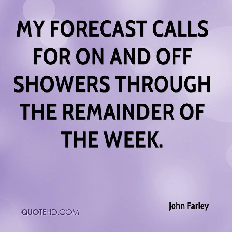 My forecast calls for on and off showers through the remainder of the week.