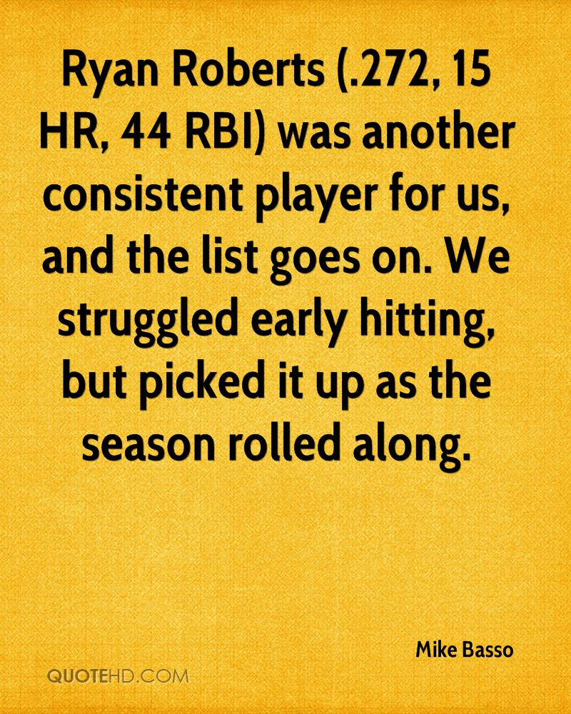 Ryan Roberts (.272, 15 HR, 44 RBI) was another consistent player for us, and the list goes on. We struggled early hitting, but picked it up as the season rolled along.