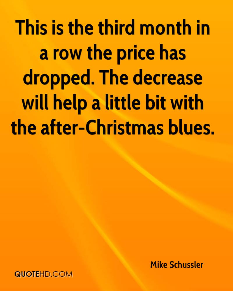This is the third month in a row the price has dropped. The decrease will help a little bit with the after-Christmas blues.