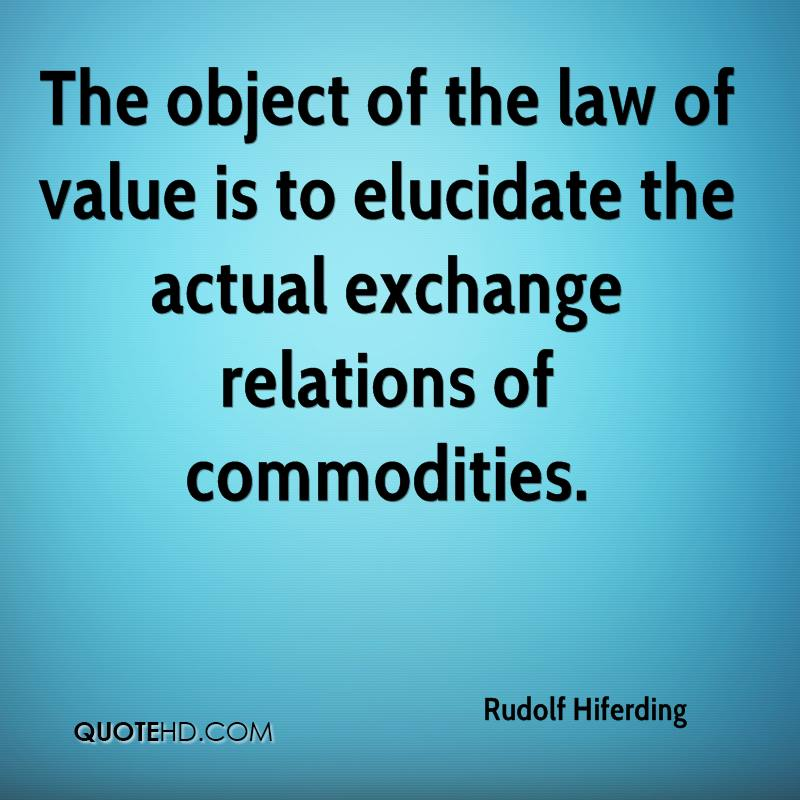 The object of the law of value is to elucidate the actual exchange relations of commodities.