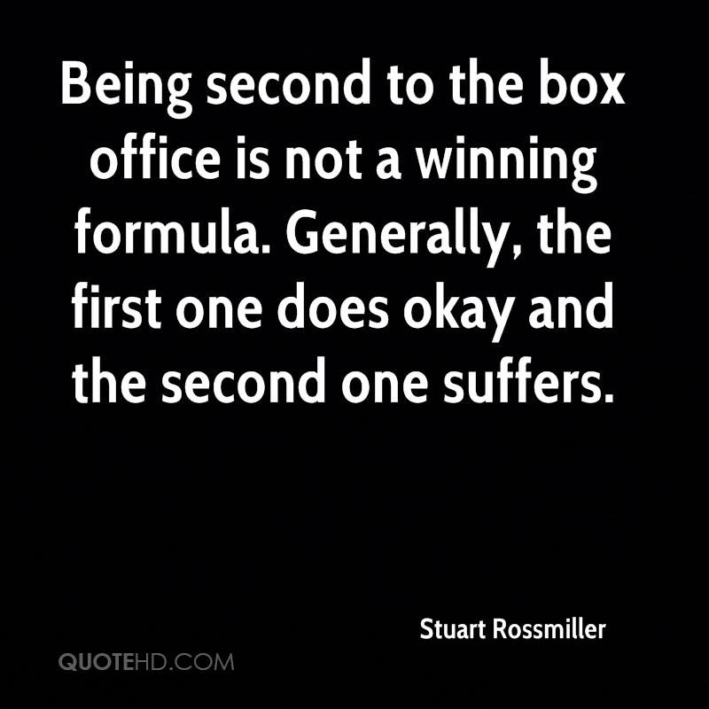 Being second to the box office is not a winning formula. Generally, the first one does okay and the second one suffers.