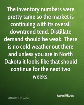 Aaron Kildow - The inventory numbers were pretty tame so the market is continuing with its overall downtrend tend. Distillate demand should be weak. There is no cold weather out there and unless you are in North Dakota it looks like that should continue for the next two weeks.