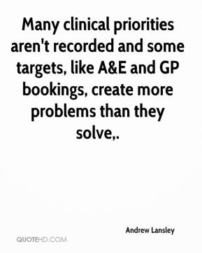 Andrew Lansley - Many clinical priorities aren't recorded and some targets, like A&E and GP bookings, create more problems than they solve.