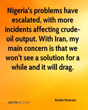 Nigeria's problems have escalated, with more incidents affecting crude-oil output. With Iran, my main concern is that we won't see a solution for a while and it will drag.