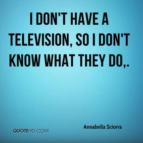 Annabella Sciorra - I don't have a television, so I don't know what they do.