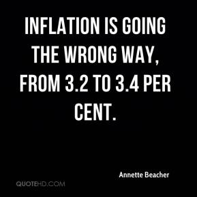 Annette Beacher - Inflation is going the wrong way, from 3.2 to 3.4 per cent.