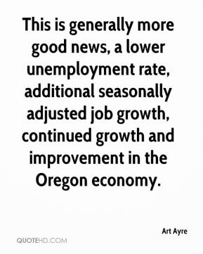 Art Ayre - This is generally more good news, a lower unemployment rate, additional seasonally adjusted job growth, continued growth and improvement in the Oregon economy.