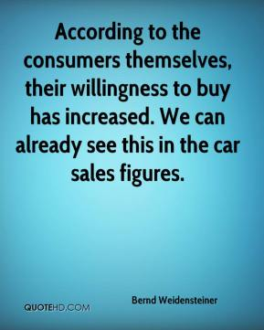 Bernd Weidensteiner - According to the consumers themselves, their willingness to buy has increased. We can already see this in the car sales figures.