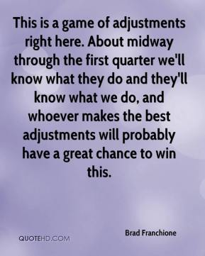 Brad Franchione - This is a game of adjustments right here. About midway through the first quarter we'll know what they do and they'll know what we do, and whoever makes the best adjustments will probably have a great chance to win this.