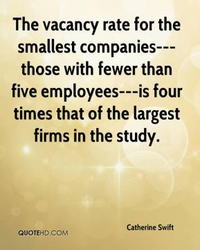 Catherine Swift - The vacancy rate for the smallest companies---those with fewer than five employees---is four times that of the largest firms in the study.
