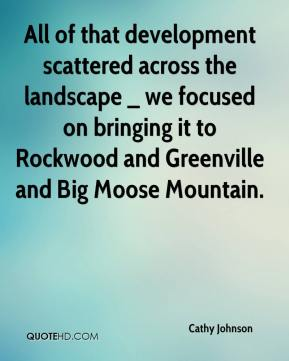 Cathy Johnson - All of that development scattered across the landscape _ we focused on bringing it to Rockwood and Greenville and Big Moose Mountain.