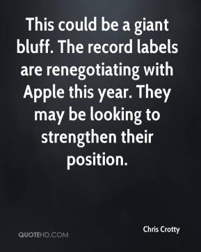 Chris Crotty - This could be a giant bluff. The record labels are renegotiating with Apple this year. They may be looking to strengthen their position.