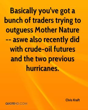 Chris Kraft - Basically you've got a bunch of traders trying to outguess Mother Nature -- aswe also recently did with crude-oil futures and the two previous hurricanes.