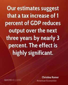 Christina Romer - Our estimates suggest that a tax increase of 1 percent of GDP reduces output over the next three years by nearly 3 percent. The effect is highly significant.
