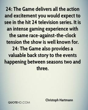 Christoph Hartmann - 24: The Game delivers all the action and excitement you would expect to see in the hit 24 television series. It is an intense gaming experience with the same race-against-the-clock tension the show is well known for. 24: The Game also provides a valuable back story to the events happening between seasons two and three.