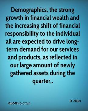 Demographics, the strong growth in financial wealth and the increasing shift of financial responsibility to the individual all are expected to drive long-term demand for our services and products, as reflected in our large amount of newly gathered assets during the quarter.