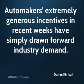 Darren Kimball - Automakers' extremely generous incentives in recent weeks have simply drawn forward industry demand.