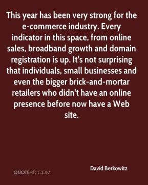 David Berkowitz - This year has been very strong for the e-commerce industry. Every indicator in this space, from online sales, broadband growth and domain registration is up. It's not surprising that individuals, small businesses and even the bigger brick-and-mortar retailers who didn't have an online presence before now have a Web site.