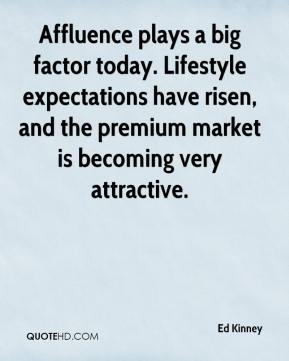 Ed Kinney - Affluence plays a big factor today. Lifestyle expectations have risen, and the premium market is becoming very attractive.