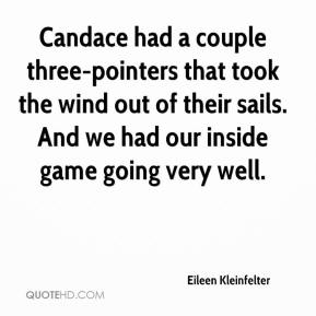 Eileen Kleinfelter - Candace had a couple three-pointers that took the wind out of their sails. And we had our inside game going very well.